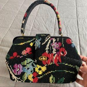 Vintage Tapestry Black Floral Clutch Handbag Purse